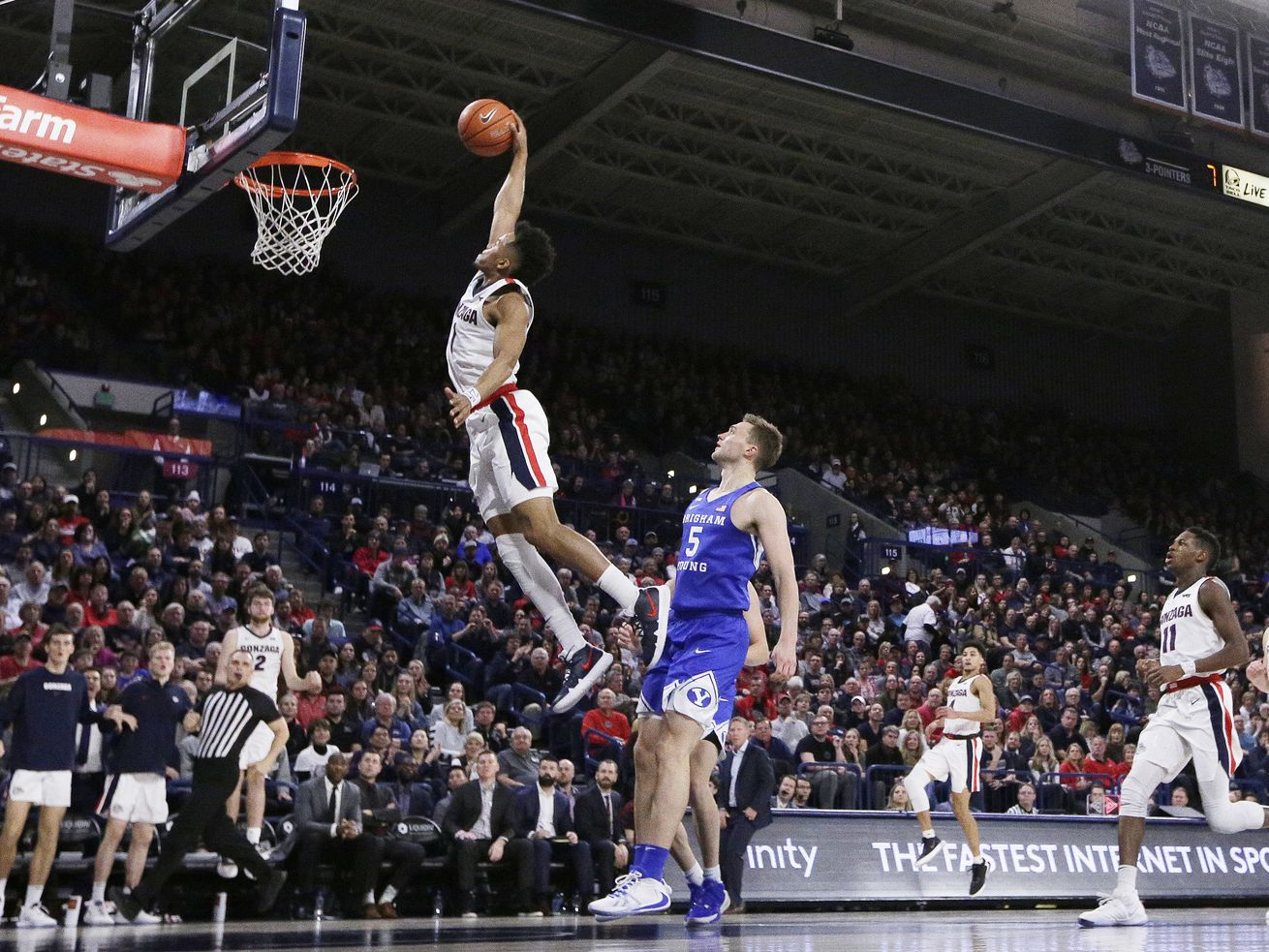 No. 1 Gonzaga pulls away from shorthanded BYU in 2nd half for 92-69 win