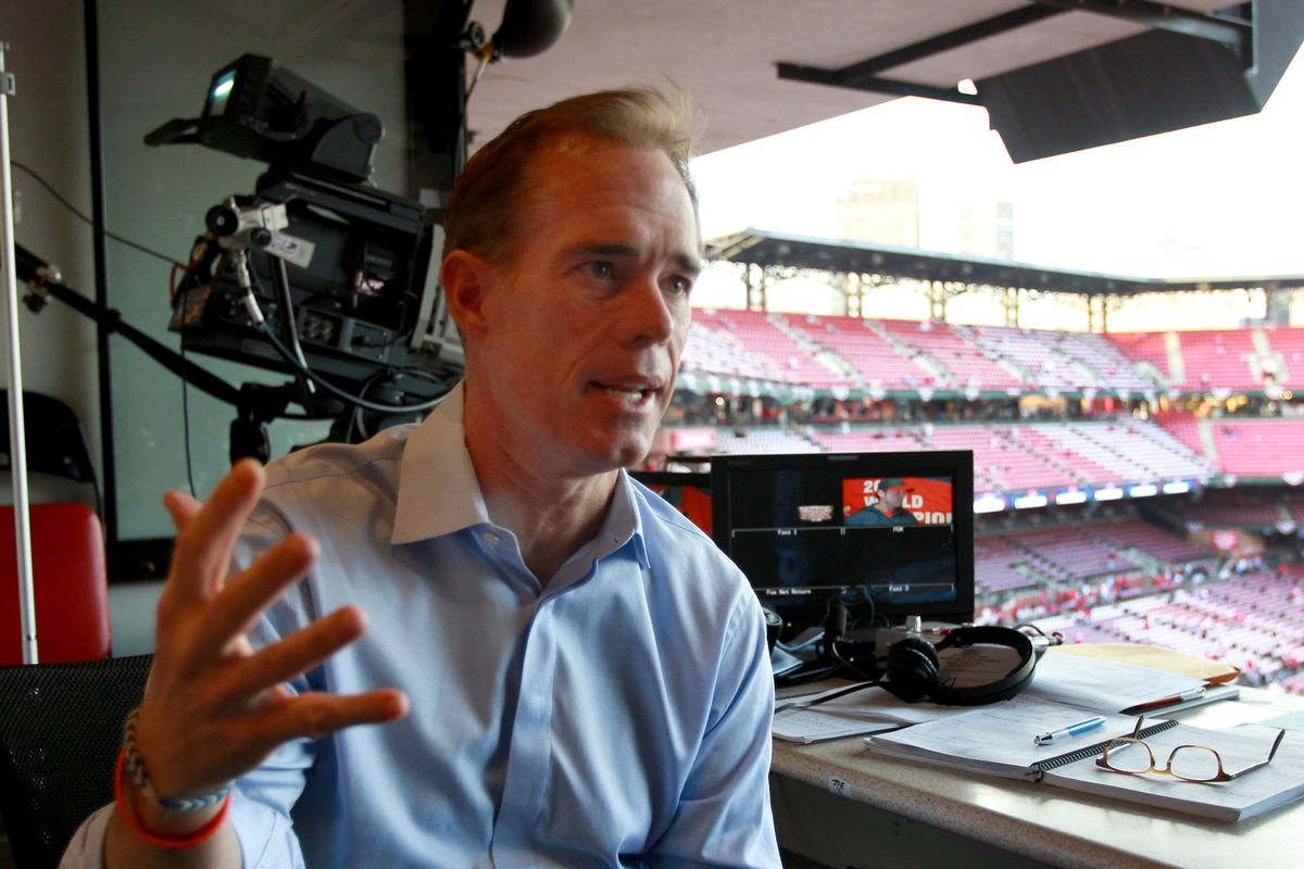 Broadcaster Joe Buck in broadcast booth before the game. The St. Louis Cardinals host the Boston Red Sox at Busch Stadium for Game Five of the 2013 Major League Baseball World Series, Oct. 28, 2013.