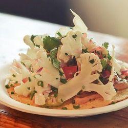 Tostada de Ceviche de Coliflor at Tacos Punta Cabras, Santa Monica by R.E. ~