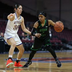 Utah Valley University Wolverines guard Mariah Seals (3) dribbles against Cal State Bakersfield Roadrunners guard Kate Tokuhara (30) in the 2017 WAC Tournament quarterfinals at Orleans Arena in Las Vegas on Wednesday, March 8, 2017.