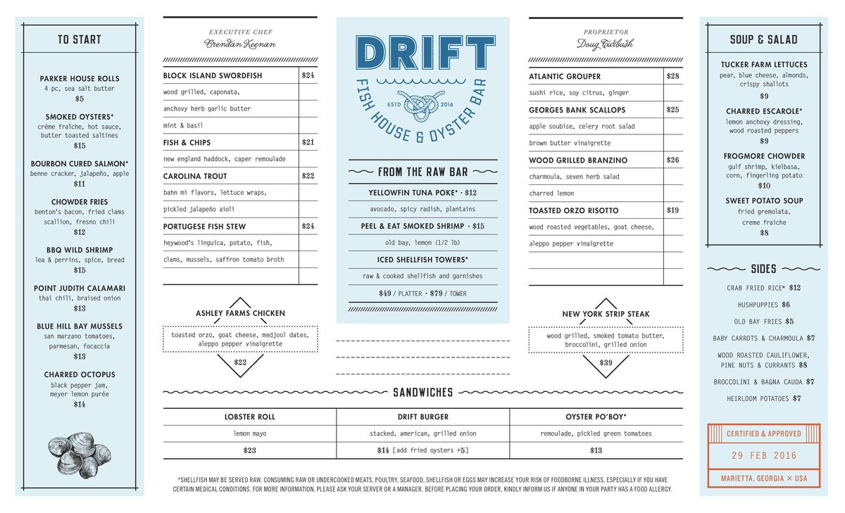 Drift Fish House menu