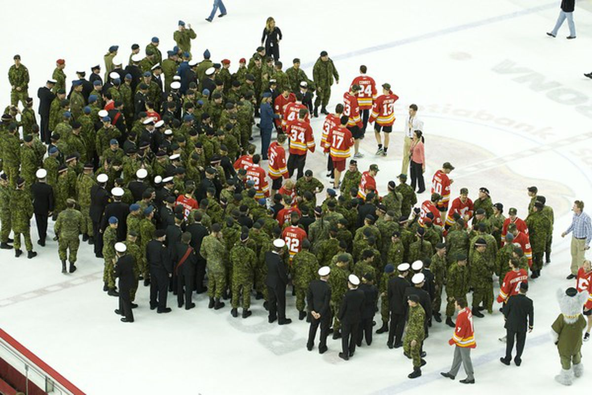 After defeating the Wild, the Flames' heads got a little big. Thankfully, the Canadian armed forces ended the incursion before there was any bloodshed.