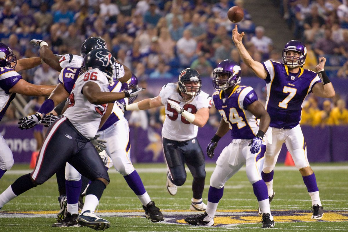 MINNEAPOLIS, MN - SEPTEMBER 1:  Christian Ponder #7 of the Minnesota Vikings passes against the Houston Texans in the first half on September 1, 2011 at Hubert H. Humphrey Metrodome in Minneapolis, Minnesota. (Photo by Hannah Foslien/Getty Images)