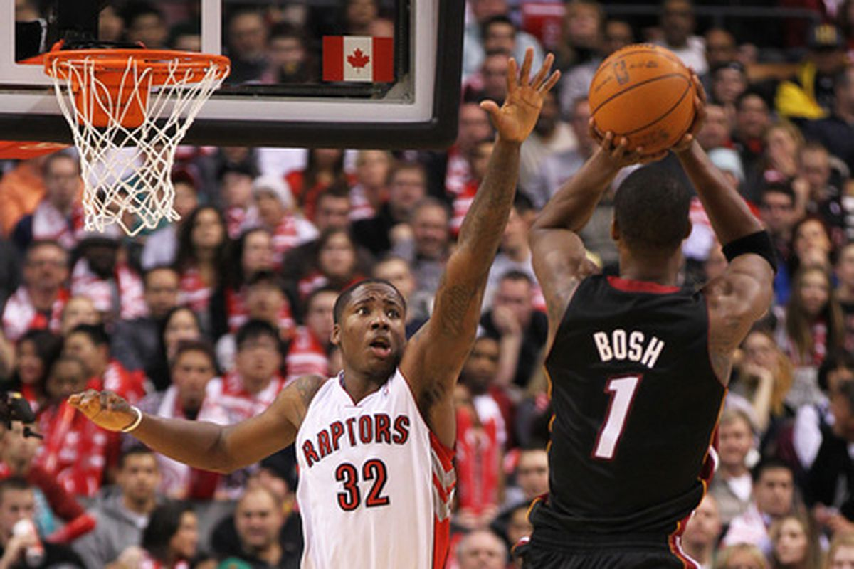 Chris Bosh will look to outplay the player that replaced him in Toronto, Ed Davis.