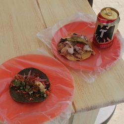 A taco and a pulpo tostada from Edgar Nunez's popular food truck Barra Vieja.