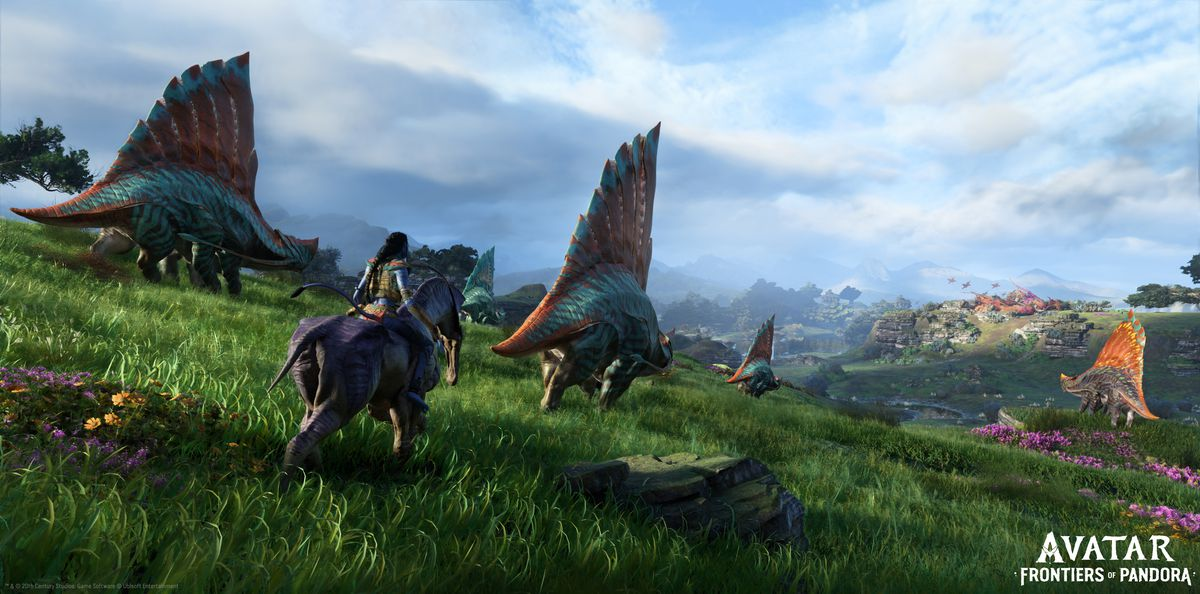 A Na'vi herdswoman pushes reptiles across the plains.