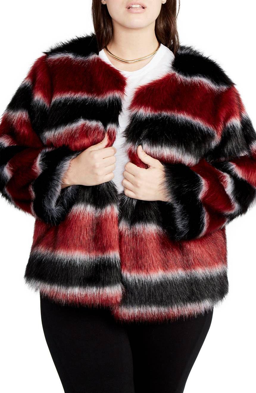 Rachel Rachel Roy Stripe Faux Fur Coat