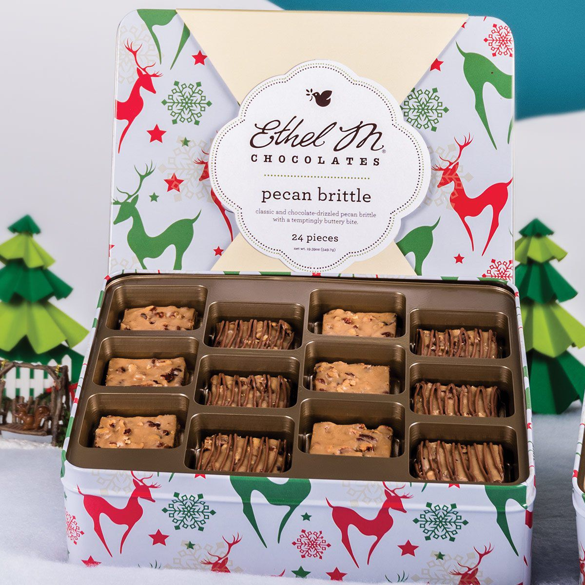 Ethel M Chocolates classic and chocolate-covered pecan brittle