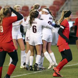 Morgan celebrates a goal during the 3A girls soccer championship game against Manti at Rio Tinto Stadium in Sandy on Monday, Oct. 26, 2020.
