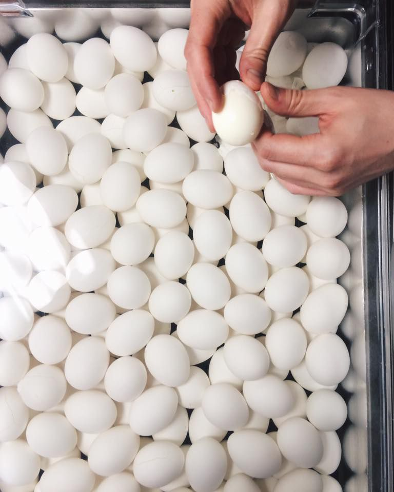 Getting eggs ready at United Noodle. Photo courtesy Facebook