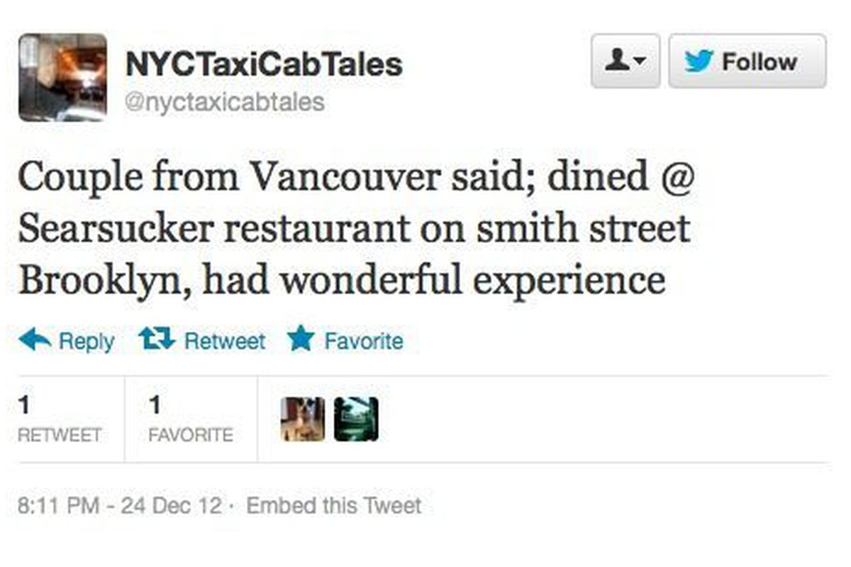 """These Canadians had <a href=""""https://twitter.com/nyctaxicabtales/status/283394485533159424"""">a wonderful time</a> at Seersucker."""