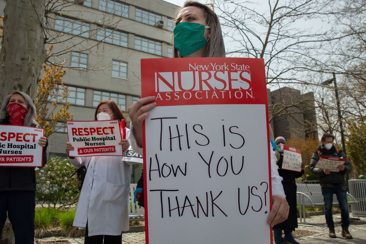 Nurses protest a lack of protective measures during the coronavirus outbreak outside the Jacobi Medical Center in The Bronx.