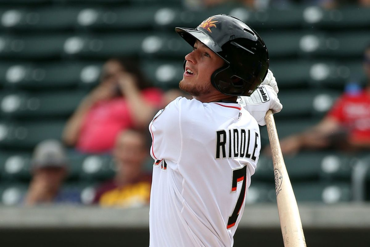 Riddle went four-for-four in Jacksonville's fourth straight win over the Biloxi Shuckers on Friday night.