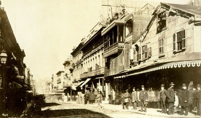 Dupont north from corner of Clay, circa 1880.