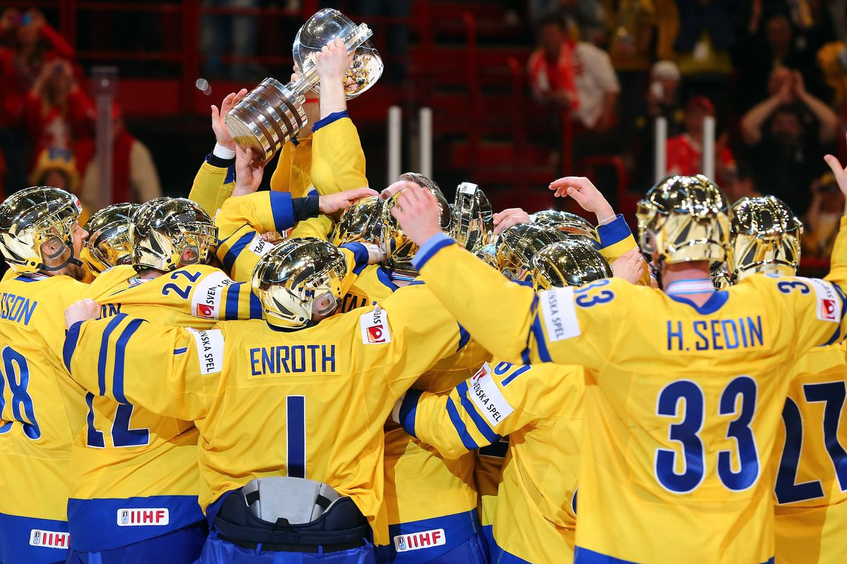 Team Sweden celebrates after winning the IIHF World Championship Gold Medal on May 19  in Stockholm.