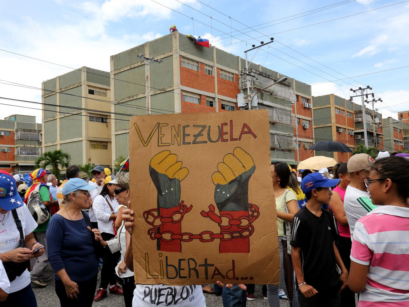 A rally for Venezuelan opposition leader Juan Guaidó.