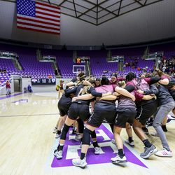 Pine View huddles before the 4A girls championship basketball game tipoff at the Dee Events Center in Ogden on Saturday, Feb. 29, 2020.