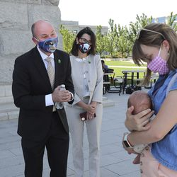 Lt. Gov. Spencer Cox, GOP nominee for governor, and running mate state Sen. Deidre Henderson, R-Spanish Fork, are pictured at press conference outside of the Capitol in Salt Lake City on Tuesday, July 7, 2020.On Monday, Cox and Henderson were declared the winners in the GOP gubernatorial primary.