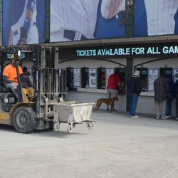 10:12 a.m. Still working outside the ticket windows -