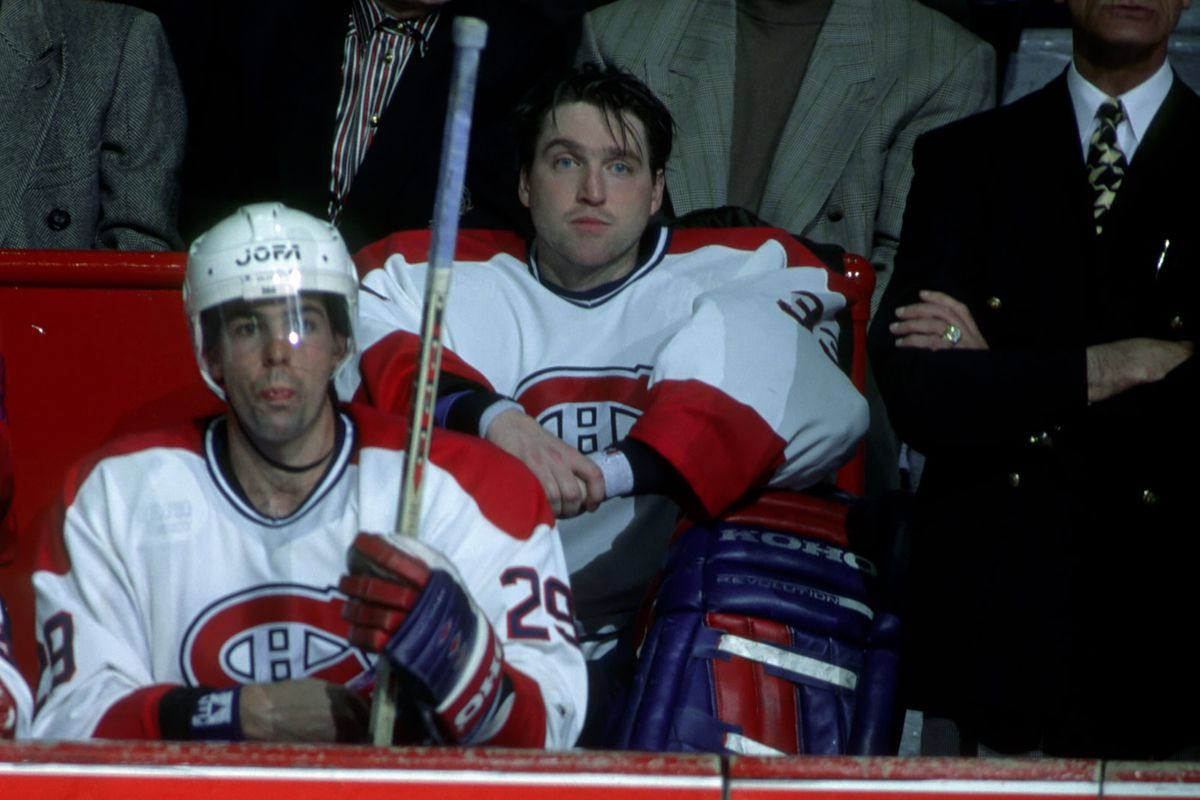 A furious Patrick Roy sits on the bench after pulling himself