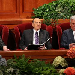 President Thomas S. Monson, with counselors President Henry B. Eyring, left, and President Dieter F. Uchtdorf, right, preside over the morning session of the 183rd Semiannual General Conference of the Church of Jesus Christ of Latter-day Saints Sunday, Oct. 6, 2013, in Salt Lake City.