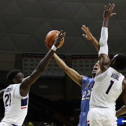 UConn's Mamadou Diarra (21) & Christian Vital (1) during the Columbia Lions vs UConn Huskies men's college basketball game at Gampel Pavilion in Storrs, CT on November 29, 2017.