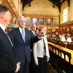 Elder D. Todd Christofferson, of the Quorum of the Twelve Apostles of The Church of Jesus Christ of Latter-day Saints, gets a tour from Philip Tootill at Christ Church, Oxford University, prior to speaking in Oxford, England, on Thursday, June 15, 2017. The dining hall was used in the Harry Potter films.