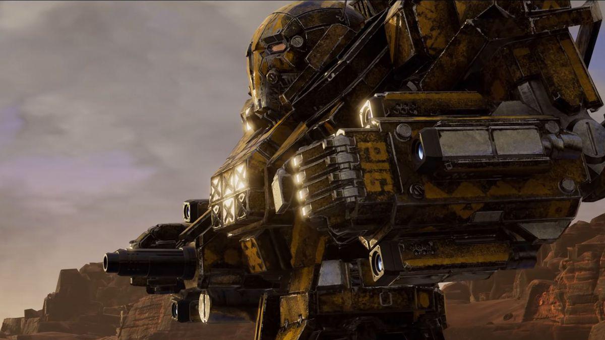 A yellow Atlas-class BattleMech as seen in the walkthrough trailer for MechWarrior 5: Mercenaries