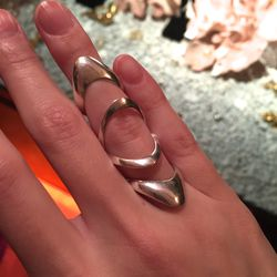 Silver stackable three-piece ring