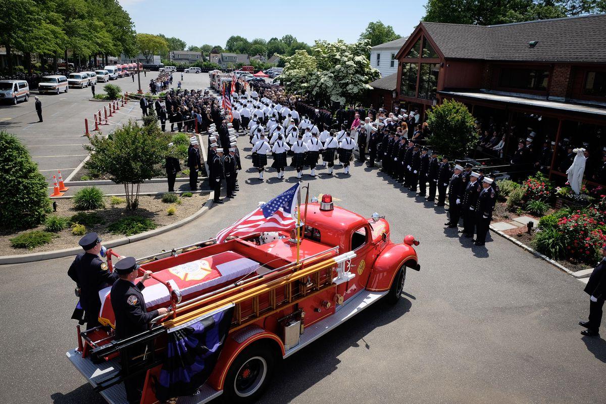 New York City Mayor Bill de Blasio attends the funeral for fallen firefighter Ray Pfeifer at Holyman Church on Friday, June 2nd. 2017.
