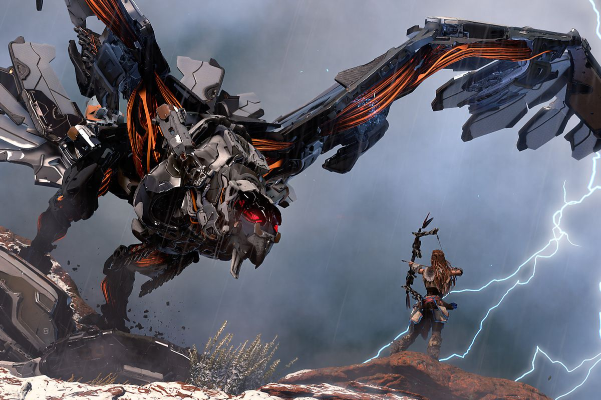 Aloy takes on a robot animal in Horizon Zero Dawn