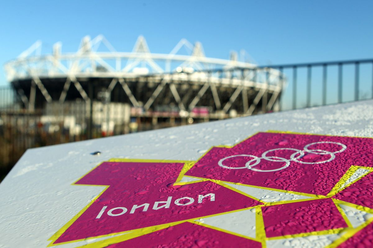LONDON, ENGLAND - MARCH 19:  Condensation is seen on the London Olympic logo outside the Olympic Stadium on March 19, 2012 in London, England.  (Photo by Julian Finney/Getty Images)