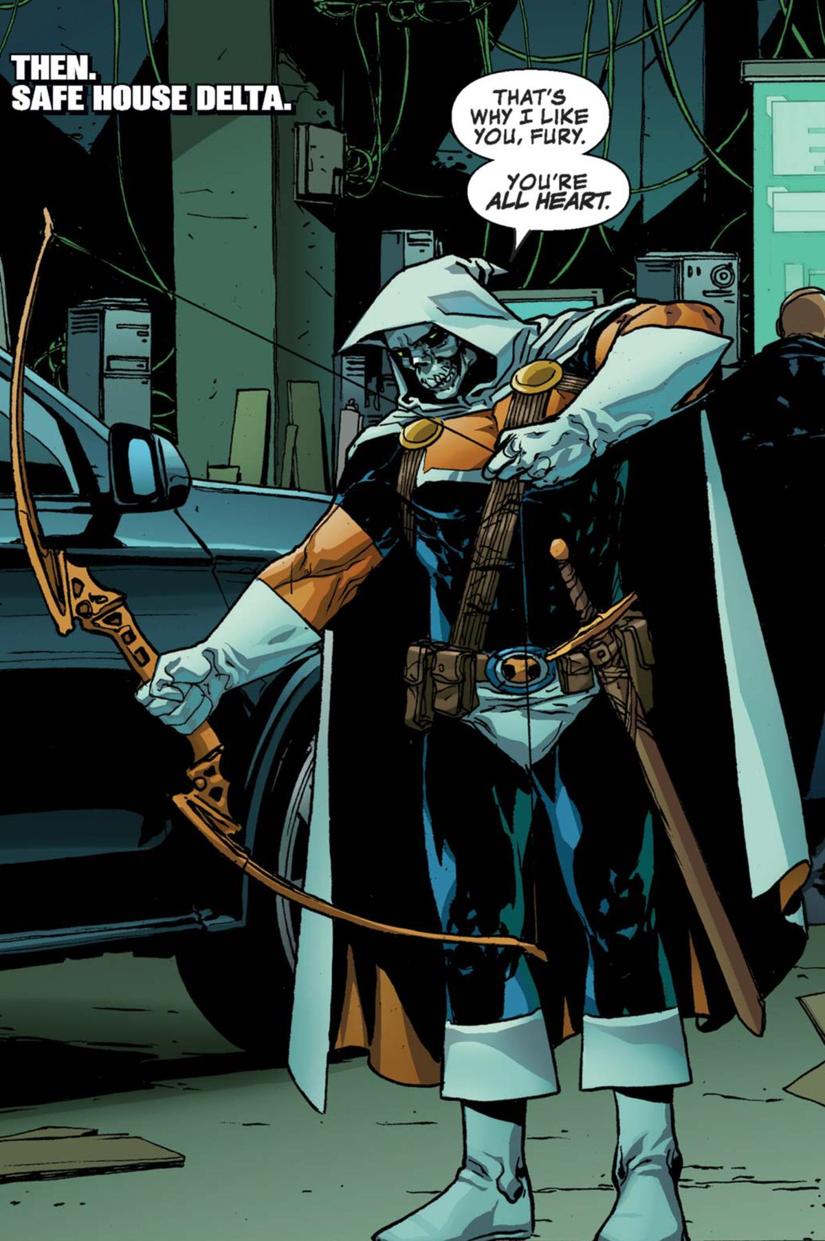 Taskmaster, in his navy blue, orange, and white costume, complete with white skull mask and sword, draws his bow experimentally in Taskmaster #2 (2020).
