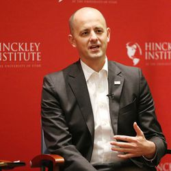 FILE: Independent Presidential candidate Evan McMullin speaks to students at the University of Utah in Salt Lake City on Thursday, Sept. 1, 2016.