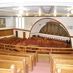 The interior of the Montpelier Tabernacle in Montpelier, Idaho. This structure was recently honored with a preservation award.