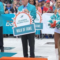 Dick Anderson unveils his place in the Miami Dolphins Walk of Fame on December 2, 2018 in a ceremony in the Joe Robbie Alumni Plaza at Hard Rock Stadium, Miami Gardens, Florida.