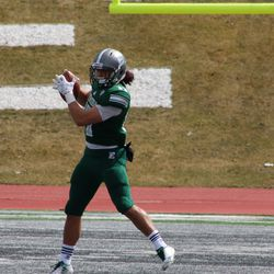 One of the Eastern Michigan receivers getting the ball.