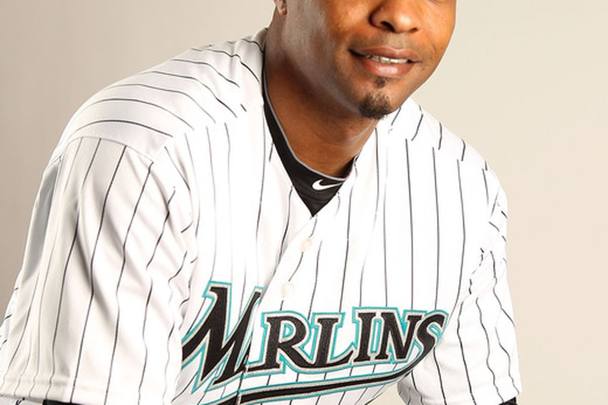 JUPITER FL - FEBRUARY 23: Dewayne Wise #10 of the Florida Marlins during Photo Day at Roger Dean Stadium on February 23 2011 in Jupiter Florida.  (Photo by Mike Ehrmann/Getty Images)