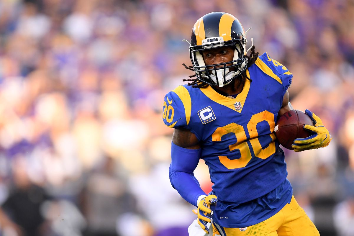 Los Angeles Rams running back Todd Gurley carries the ball