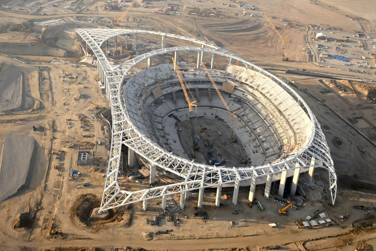 NFL: LA Stadium Canopy Shell Topping Out Celebration