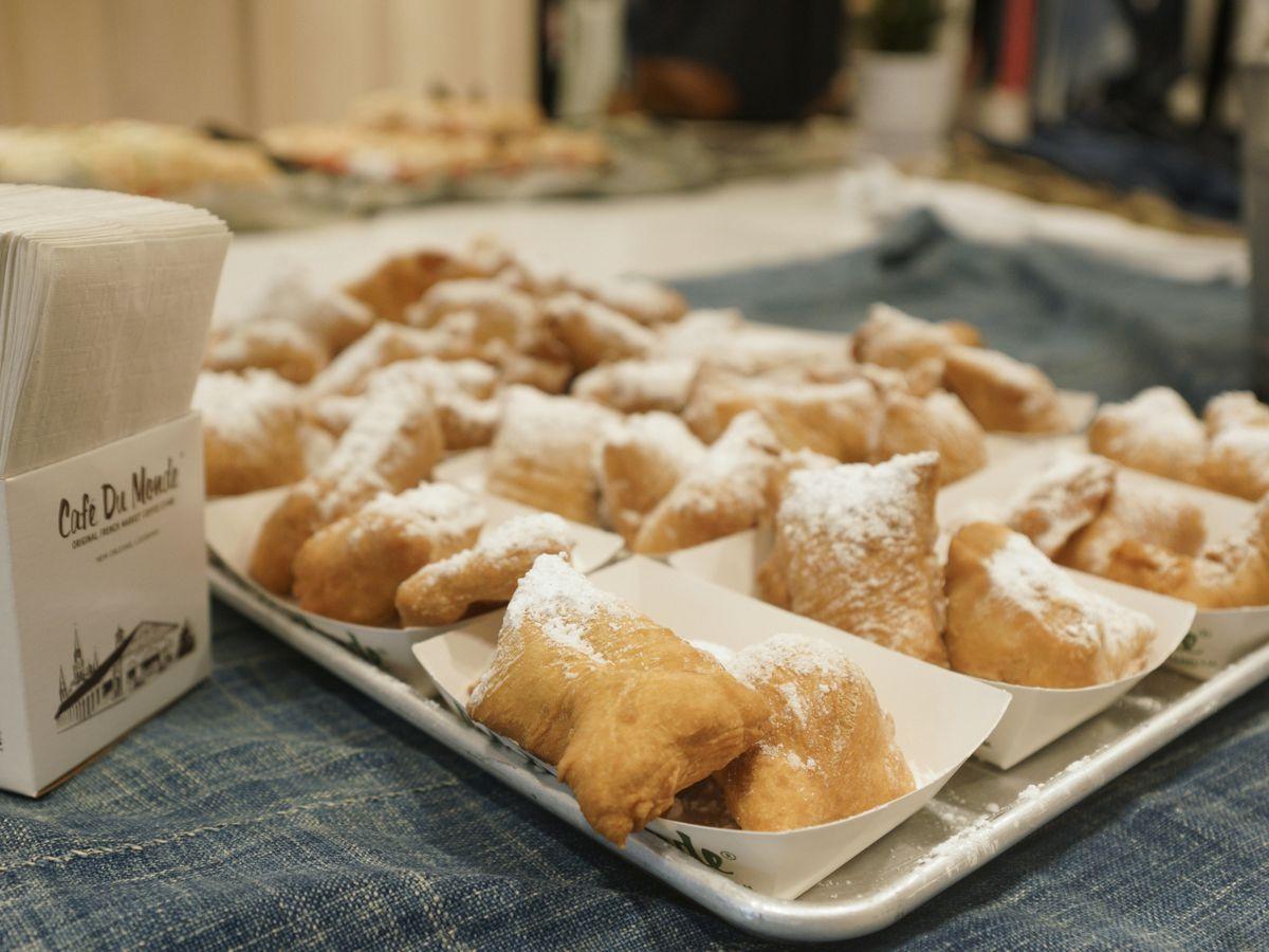 A platter of Cafe du Monde's beignets, three to an order