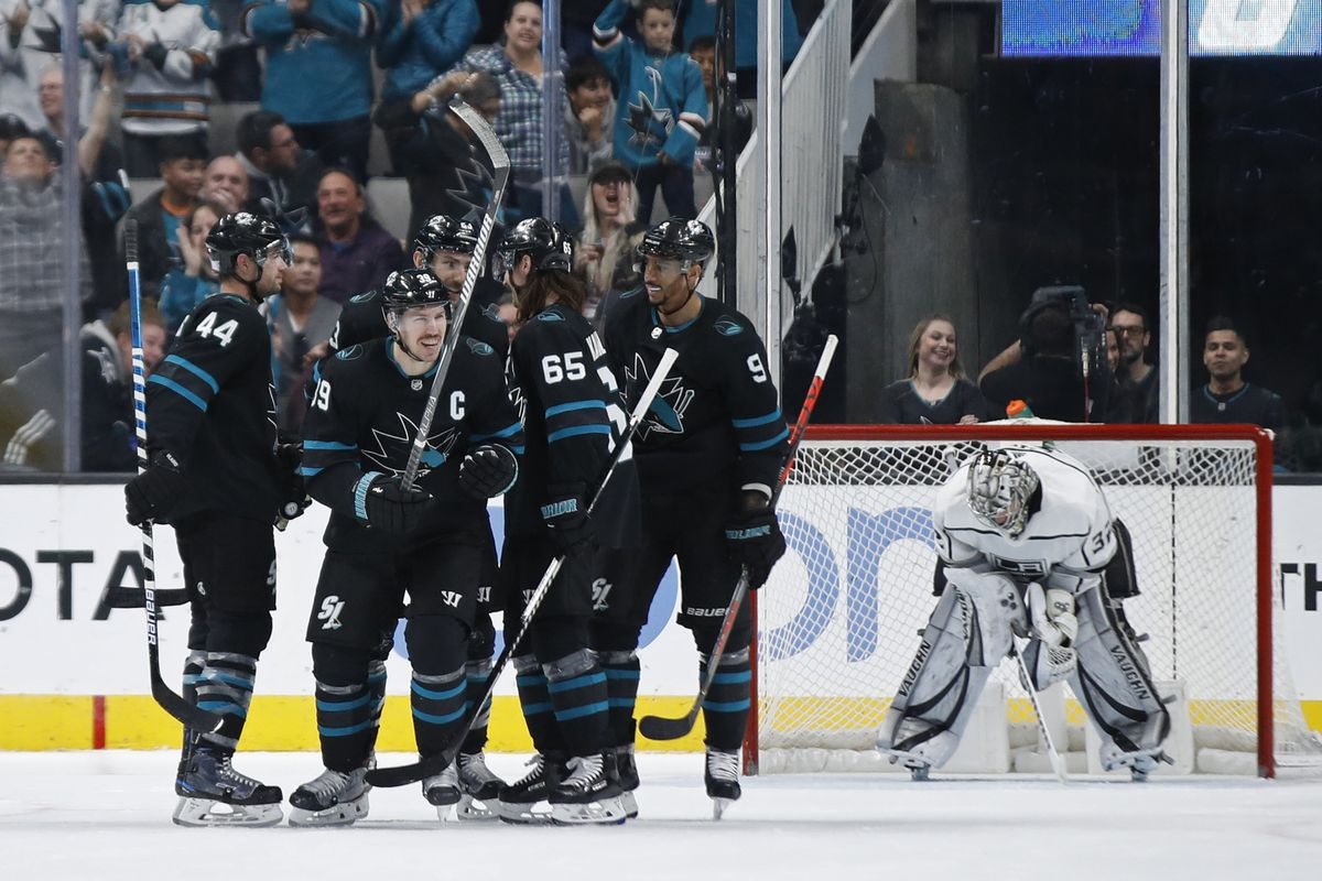 Nov 29, 2019; San Jose, CA, USA; San Jose Sharks players celebrate a goal by San Jose Sharks center Logan Couture (39) during the second period against the Los Angeles Kings at SAP Center at San Jose.