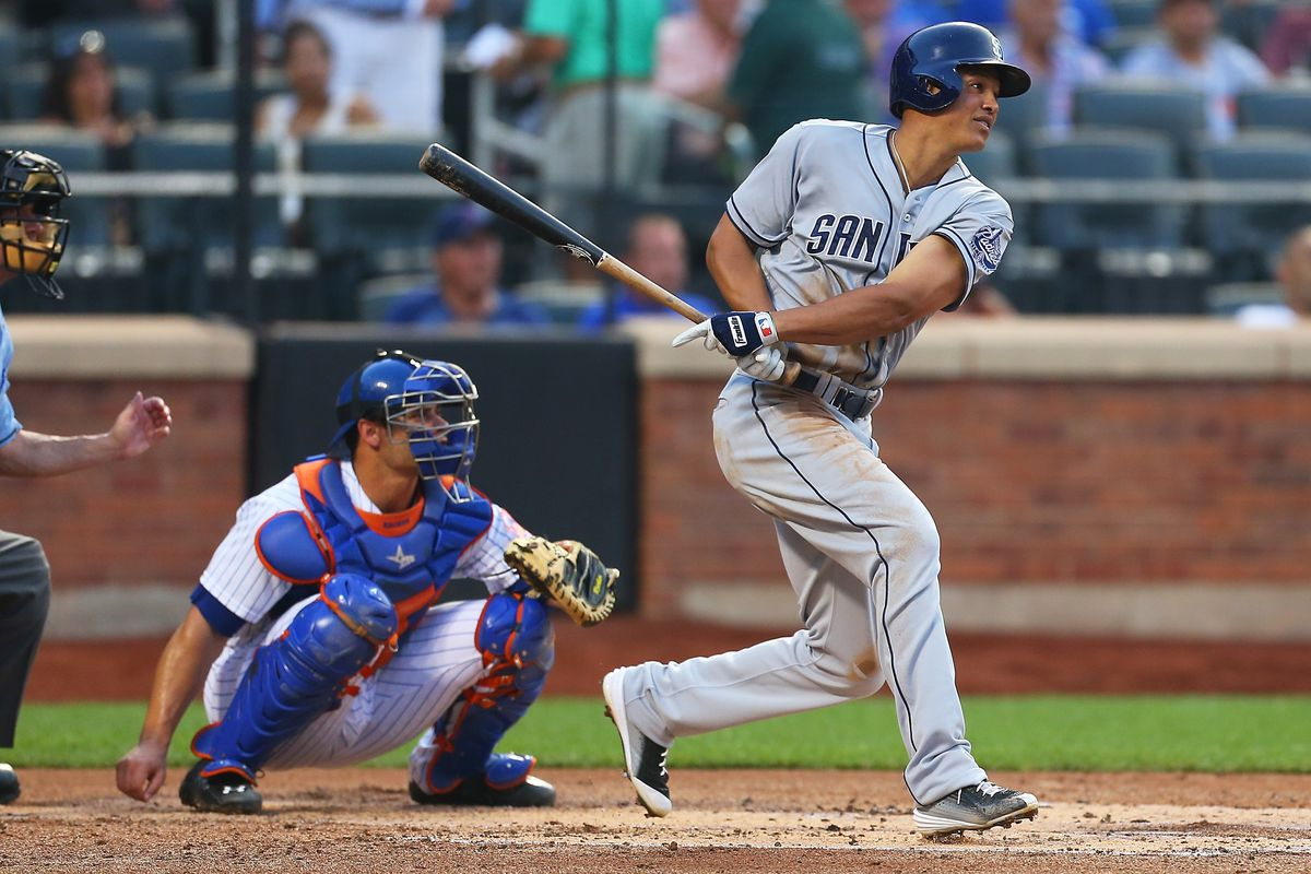 NEW YORK, NY - JULY 29:  Will Venable #25 of the San Diego Padres hits a RBI single in the second inning against the New York Mets at Citi Field on July 29, 2015 in Flushing neighborhood of the Queens borough of New York City.  (Photo by Mike Stobe/Getty Images)