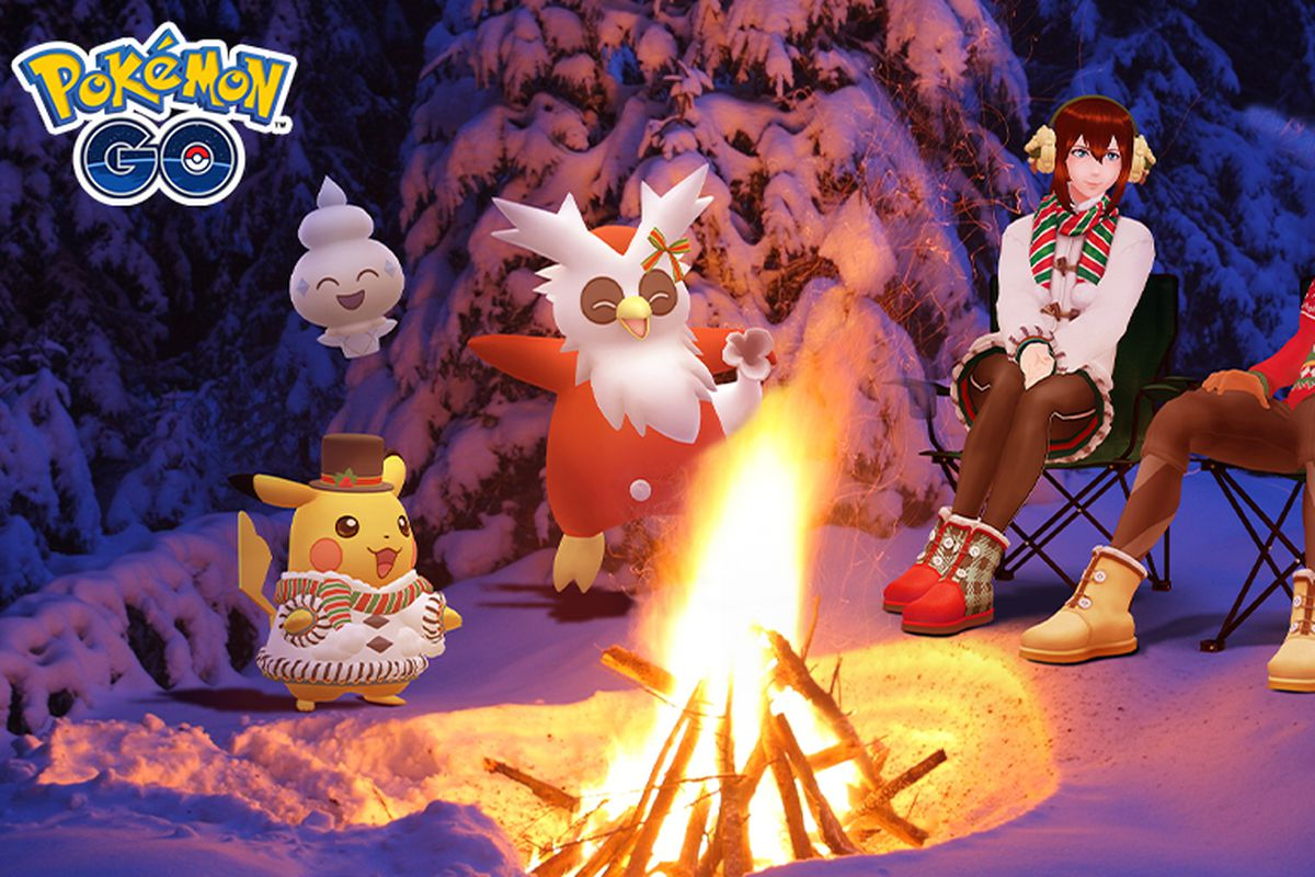 Trainers sit around a fire with Delibird, Pikachu, Cubchoo, and Vanillite