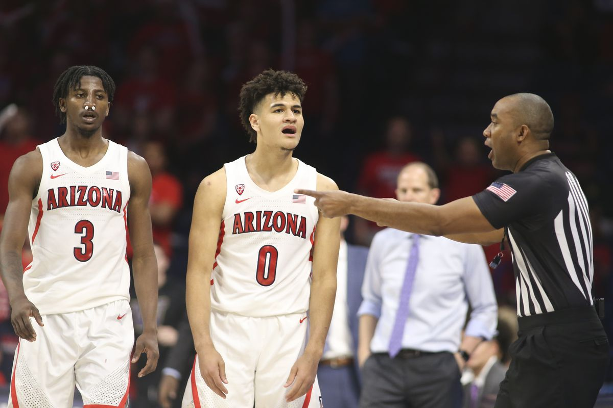 Arizona Wildcats guard Josh Green reacts after a foul call against him in the second half against the Washington Huskies at McKale Center.