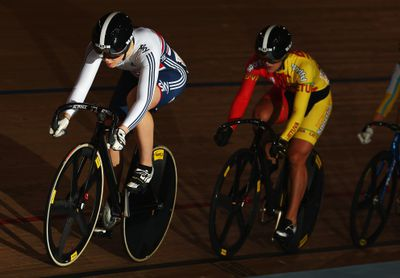 UCI Track Cycling World Cup, London 2014, Jessica Varnish leads the pack in the Keirin.