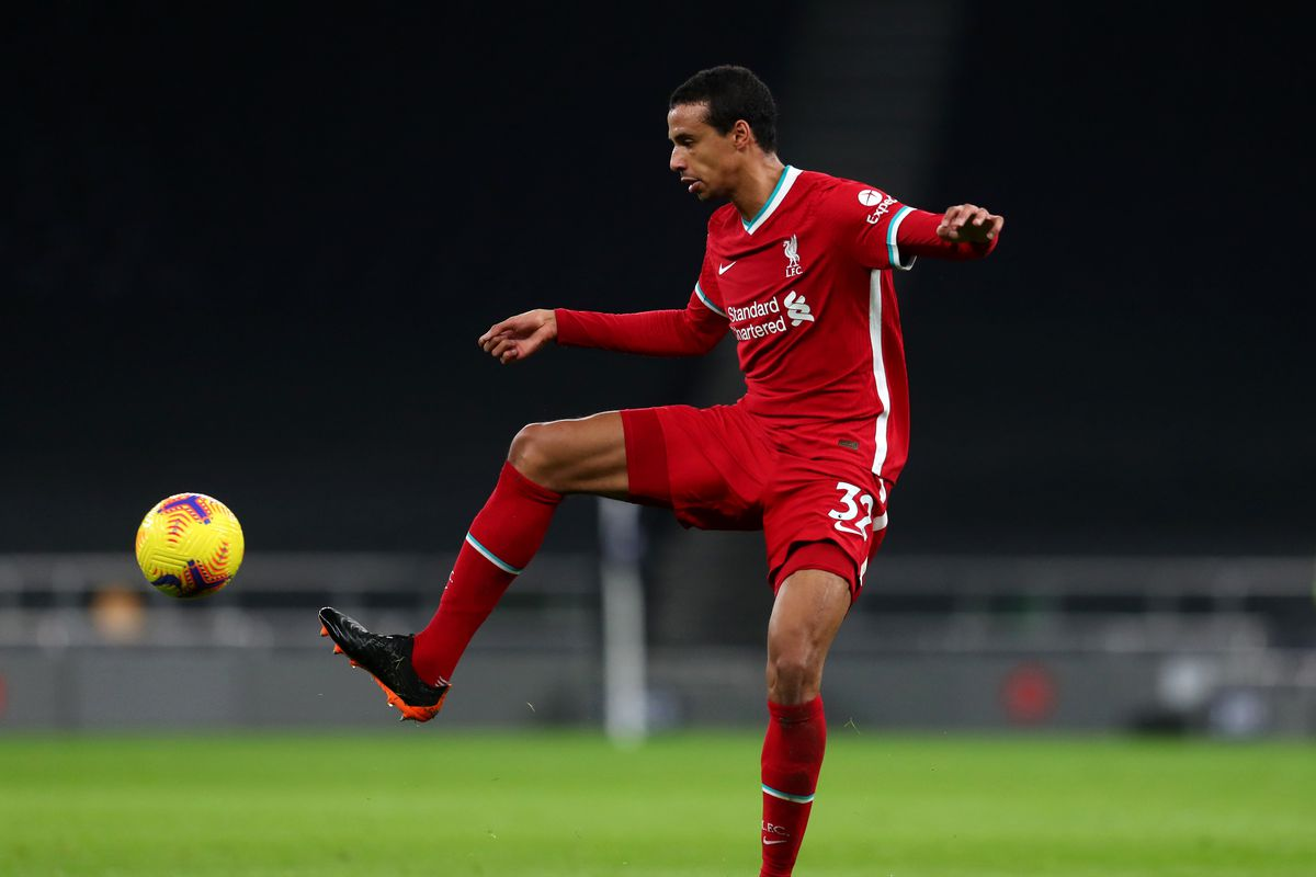 Joel Matip of Liverpool during the Premier League match between Tottenham Hotspur and Liverpool at Tottenham Hotspur Stadium on January 28, 2021 in London, England