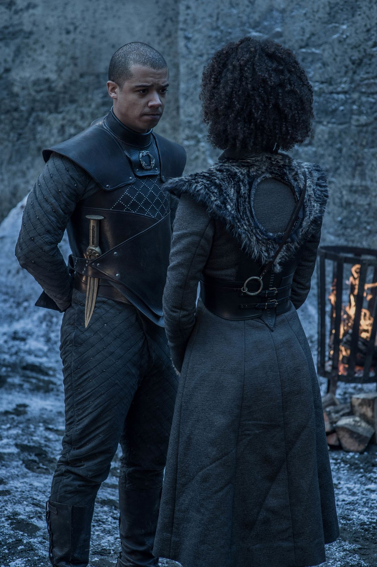 Game of Thrones season 8 episode 2 - Grey Worm and Missandei in the Winterfell courtyard