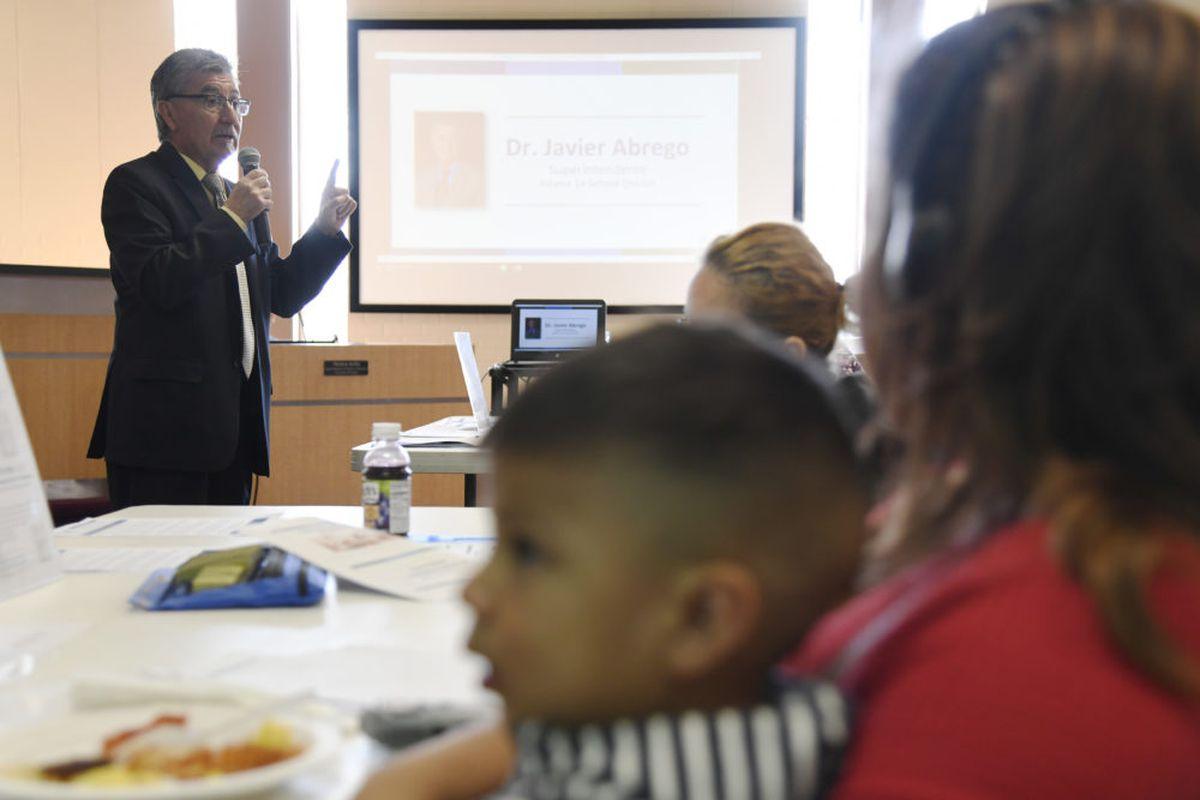 Javier Abrego, superintendent of Adams 14 School District, speaks to parents at a forum April 17, 2018. (Photo by Hyoung Chang/The Denver Post)