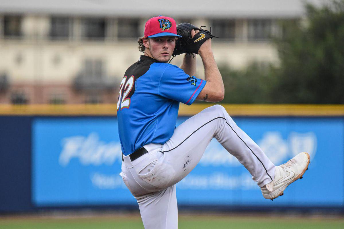 Pensacola LHP Jake Eder delivers a pitch